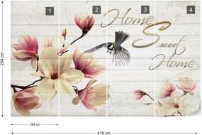 "Fototapeta GLIX - Magnolia Flowers ""Home Sweet Home"" + lepidlo ZADARMO Vliesová tapeta  - 416x254 cm"