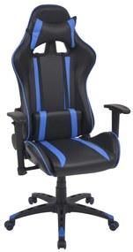 Sklápacie kancelárske kreslo, pretekársky dizajn, umelá koža, modré