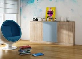 MEBLOCROSS Roger 90 výklopná posteľ s roštom sonoma svetlá / belasá / modrá