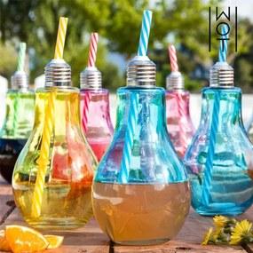 Farebné Poháre Žiarovka so Slamkami Wagon Trend 400 ml 6 kusov