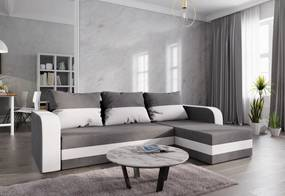 Expedo Rohová rozkládacia sedačka WELTA, 237x85x140, šedá/biela, mikrofáze50/31