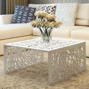 vidaXL Konferenčný stolík, strieborná farba, geometrický vzor, hliník