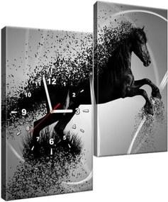 Obraz s hodinami Čiernobiely kôň – Jakub Banas 60x60cm ZP3573A_2J