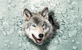 Vliesové fototapety, rozmer 312 x 219 cm, 3D vlk, IMPOL TRADE 2941 VO XXL