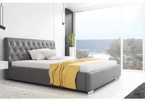 Dizajnové jednolôžko Adelaide s vysokým čelom a úložným priestorom šedá eko koža 120 x 200