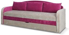 Rozkladacia pohovka SPARTAN, 86x208x75 cm cm, santana/fialová