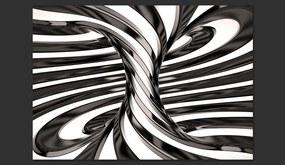 Bimago Fototapeta - Black and white swirl II 400x280 cm