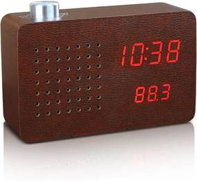 Tmavohnedý budík s červeným LED displejom a rádiom Gingko Click Clock