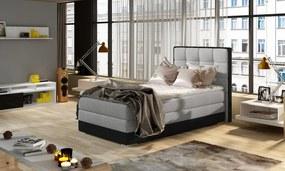 NABBI Alessandra 90 L čalúnená jednolôžková posteľ svetlosivá / čierna