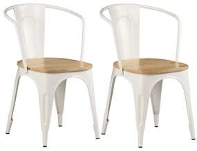 vidaXL Jedálenské stoličky 2 ks, biele, mangový masív