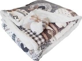 Homeville srdíčková deka s beránkem HOLLY 140x200cm - šedá/béžová
