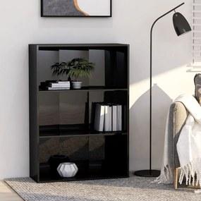 vidaXL Knižnica s 3 policami, lesklá čierna 80x30x114 cm, drevotrieska