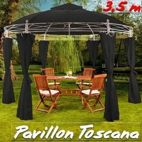 Záhradný altánok Pavilón TOSCANA priemer 350cm antracit