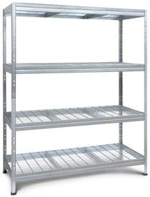 Majster Regál Bezskrutkový kovové regály RIVET systém s drôtenou policou,180x150x60cm,4  police, 400 kg na policu, zinok