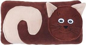 Bellatex Tvarovaný vankúšik Mačička hnedá, 30 x 50 cm