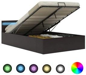 vidaXL Hydraulický posteľný rám+úložný priestor, LED, umelá koža 120x200 cm