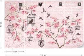 Fototapeta GLIX - Cherry Blossom And Birds Vintage  + lepidlo ZADARMO Vliesová tapeta  - 416x254 cm