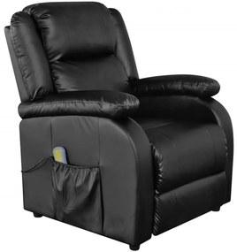 Čierne elektrické TV/masážne kreslo z umelej kože, nastaviteľné