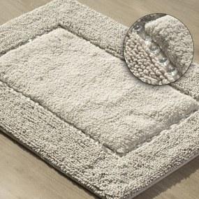 DomTextilu Béžový ozdobený kúpeľňový koberec z bavlny Šírka: 60 cm | Dĺžka: 90 cm 44480-208068