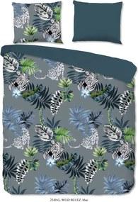 Modro-sivé bavlnené obliečky na jednolôžko Good Morning Nočné safari, 140 x 220 cm