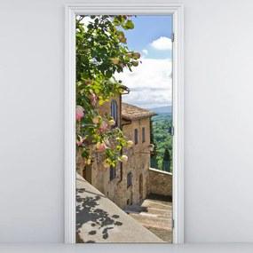 Fototapeta na dvere - Ruže na balkóne (95x205cm)