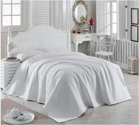 Biely bavlnený pléd cez posteľ Magnona, 200 × 240 cm