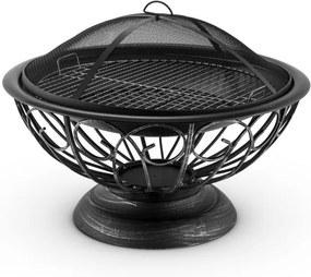 Blumfeldt Tulip, Ø 75 cm, nádoba na oheň, gril, ohnisko, ochrana pred iskrami, oceľ, brunírovaná
