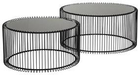 Sada 2 čiernych odkladacích stolíkov Kare Design Wire Big