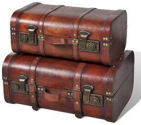 vidaXL Sada 2 hnedých drevených truhlíc, starožitný dizajn