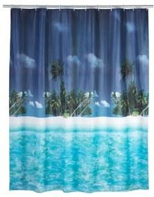 Modrý sprchový záves Wenko Dreamy Beach, 180 × 200 cm