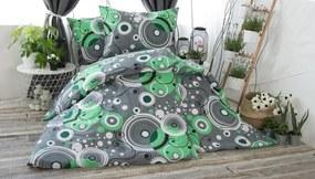 XPOSE ® Prodloužené bavlněné povlečení ŠÁRKA - zelená 140x220, 70x90