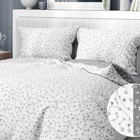 Goldea krepové posteľné obliečky - vzor 779 kvietky a motýle so sivou 240 x 200 a 2ks 70 x 90 cm
