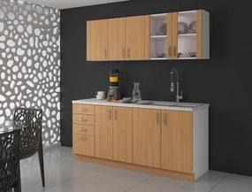 Kuchynská linka 180 cm v dekore jelša ARES - Travertin lesklý - 38 mm