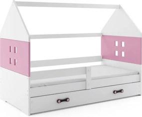 Expedo Dětská postel MIDO P1 COLOR + matrace + rošt ZDARMA, 80x160, bílá, růžová