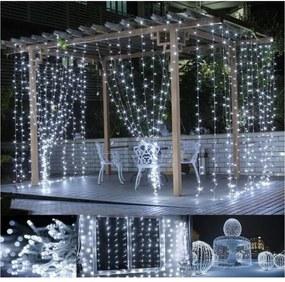Vianočné osvetlenie - svetelný záves - 3 x 3 m studená biela 300 LED