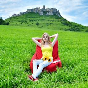 EMI Sedací vak stolička nylonová červená 250 litrov