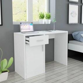 vidaXL Stôl so zásuvkou a skrinkou, biely, 100x40x73 cm