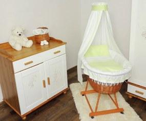 Prútený kôš pre bábätko so zelenou sadou obliečok Prútený kôš na bábätko so zelenou sadou obliečky