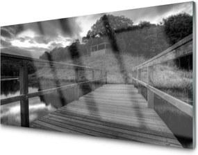 Sklenený obklad Do kuchyne Mólo Čiernobiele Jazero