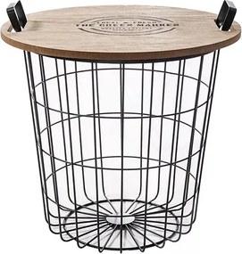 Príručný stolík, prírodná vzor/čierna, NANDO