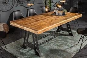 IIG -  Masívny jedálenský stôl INDUSTRIAL 200 cm mango drevo s čiernym kovovým rámom