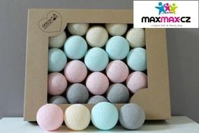 MAXMAX Bavlnené svietiace guličky púdrová - 10 guličiek