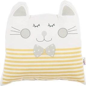 Žltý detský vankúšik s prímesou bavlny Apolena Pillow Toy Big Cat, 29 x 29 cm