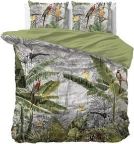 DomTextilu Obojstranné bavlnené zelené posteľné obliečky z kolekcie JUNGLE 220 x 240 cm 37016