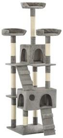 vidaXL Škrabadlo pre mačky so sisalovými stĺpikmi, 170 cm sivé