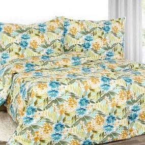 Goldea exkluzívne ľanové obliečky - vzor modré havajské kvety 140 x 200 a 70 x 90 cm