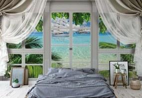 Fototapeta GLIX - 3D Door View Tropical Island Beach + lepidlo ZADARMO Papírová tapeta  - 368x280 cm
