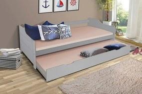 MAXMAX Detská posteľ s výsuvnou prístelkou z MASÍVU 200x90 cm BABETA - šedá 200x90 NIE