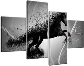 Obraz s hodinami Čiernobiely kôň – Jakub Banas 120x80cm ZP3573A_4E