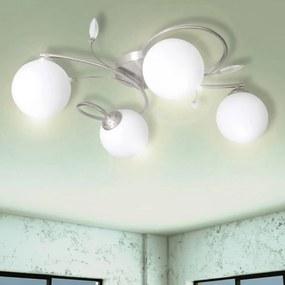 vidaXL Stropná lampa so sklenenými tienidlami a ozdobami na 4 žiarovky G9